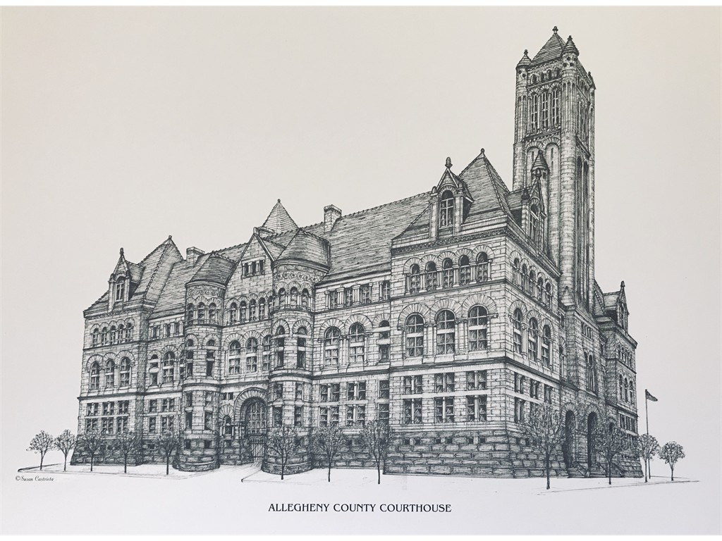 Pen & ink Allegheny County Courthouse