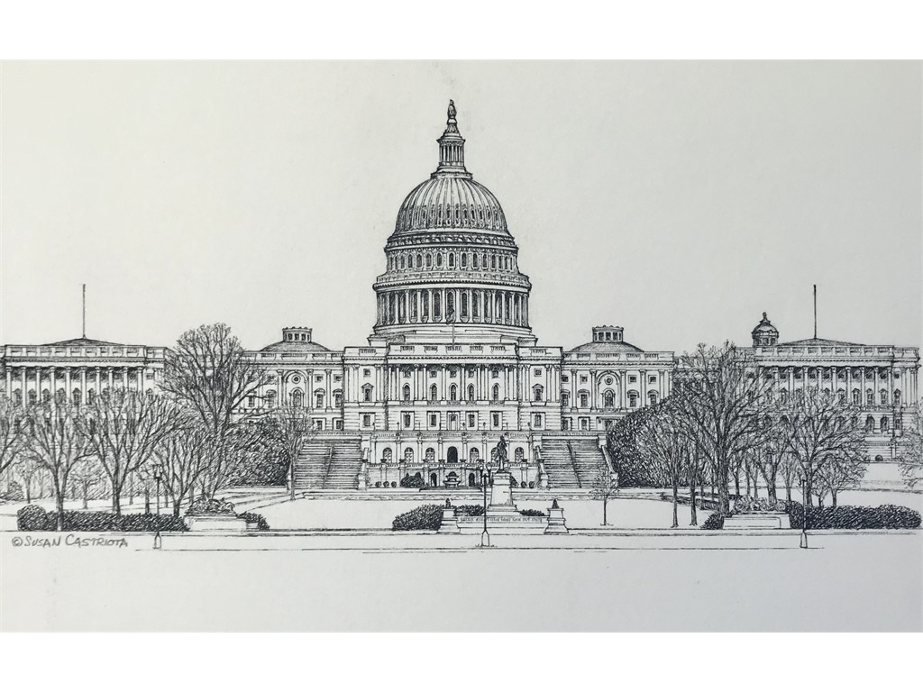 Pen & ink US Capital Front View
