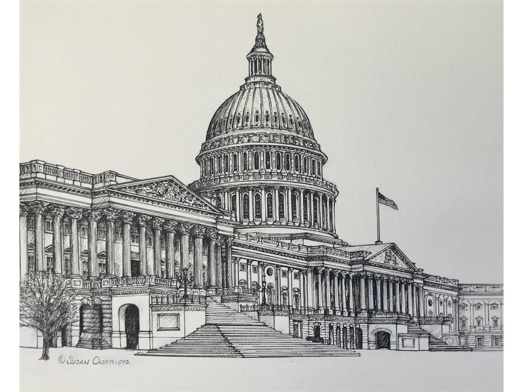 Pen & ink US Capital Side View